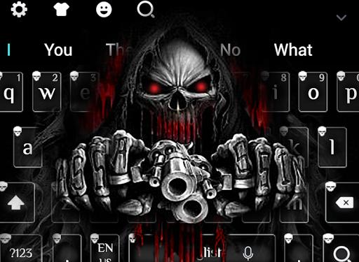 نرم افزار اندروید تم صفحه کلید اسکلت چشم خون - Red Blood Skull Guns keyboard theme