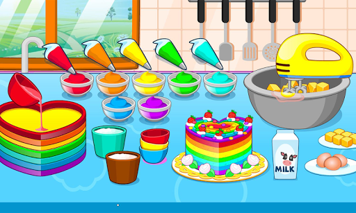 بازی اندروید پخت کیک رنگارنگ - Cooking colorful cake