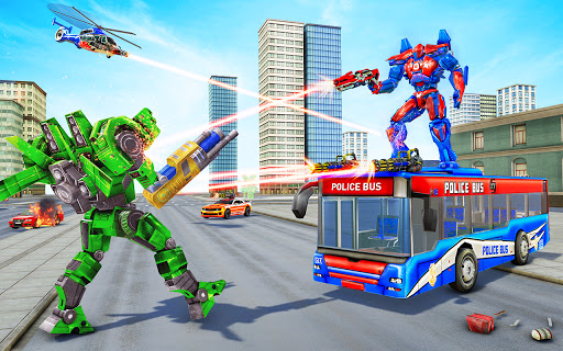 بازی اندروید جنگ ربات ترانسفورماتور اتوبوس - بازی ربات پلیس - Bus Robot Car Transform War –Police Robot games