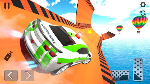بازی اندروید بدلکاری های ماشین آمبولانس - بازی های مگا رمپ - Ambulance Car Stunt: Mega Ramp Stunt Car Games