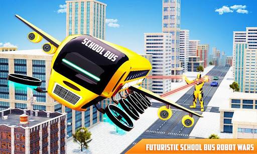 بازی اندروید پرواز ربات اتوبوس مدرسه - بازی ربات قهرمان - Flying School Bus Robot: Hero Robot Games