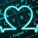 تم زنده صفحه کلید قلب نئون آبی