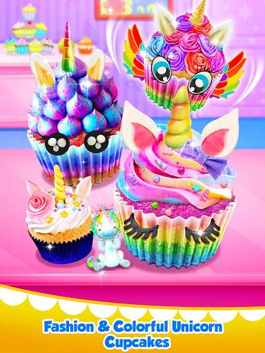 بازی اندروید دسرهای رنگین كمان كیک - Unicorn Food - Sweet Rainbow Cupcake Desserts