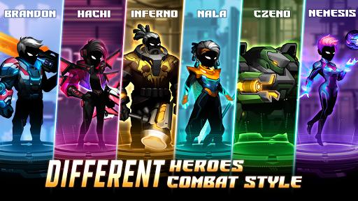 بازی اندروید مبارزه سایبر - ضربه مبارز استیکمن سایبر پانک  - Cyber Fighters: Cyberpunk Stickman Impact Fighting