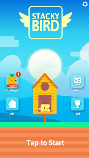 بازی اندروید ابر پرواز پرنده - Stacky Bird: Hyper Casual Flying Birdie Dash Game