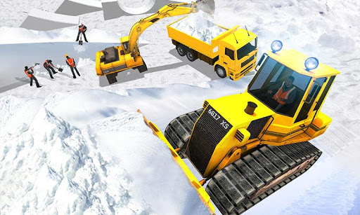 بازی اندروید بولدوزر برف روب جاده - Snow Park Downhill Bulldozer Construction games