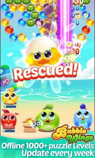 بازی اندروید بال حباب - تیرانداز حباب - Bubble Wings: offline bubble shooter games