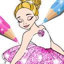 کتاب رنگ آمیزی پر زرق و برق بالرین - بازی های دخترانه