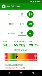 نرم افزار اندروید محاسبه چربی بدن - BMI Calculator