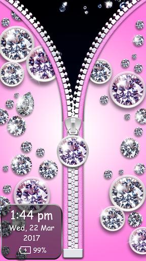 نرم افزار اندروید زیپ صفحه الماس نشان - Diamond Zipper Lock Screen