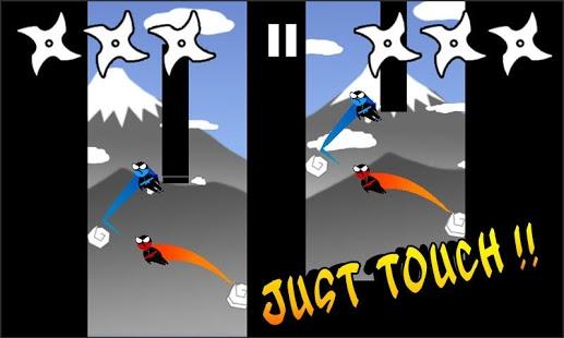 بازی اندروید پرش نینجا دو نفره - Jumping Ninja Two player