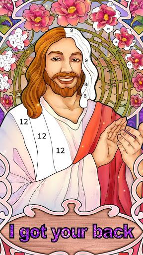 بازی اندروید رنگ آمیزی کتاب مقدس - رنگ بر اساس شماره - Bible Coloring - Paint by Number, Free Bible Games
