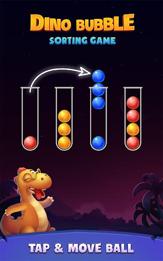 بازی اندروید پازل مرتب کردن توپ رنگی - بازی مرتب سازی حباب دینو - Color Ball Sort Puzzle - Dino Bubble Sorting Game
